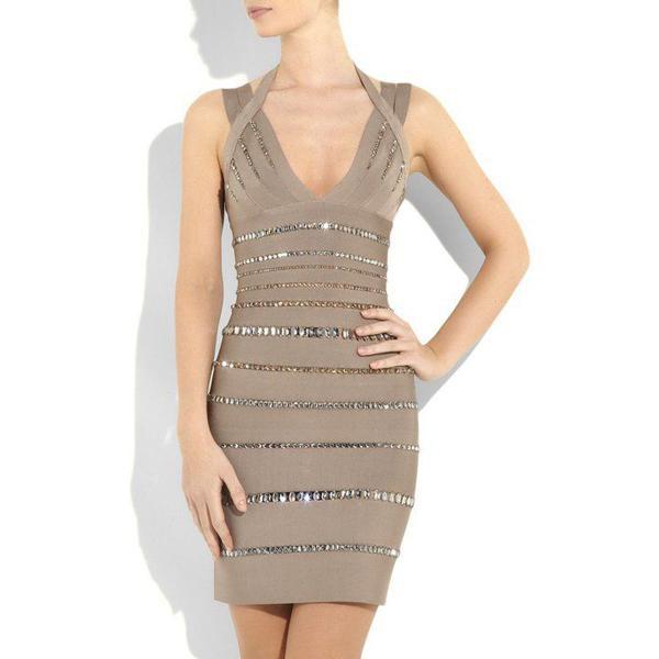 dress dress bqueen fashion girl lady chic clubwear sexy elegant party evening dress grey bodycon bandage bandage dress crystal-embellished