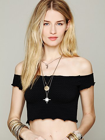 Free People  Smocked Crop Top at Free People Clothing Boutique