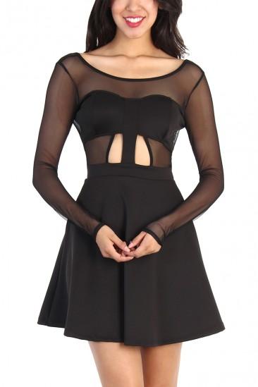OMG CUT OUT FLARE DRESS - BLACK