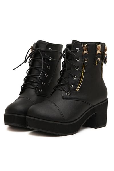 Moto Lace-up Ankle Boots - OASAP.com