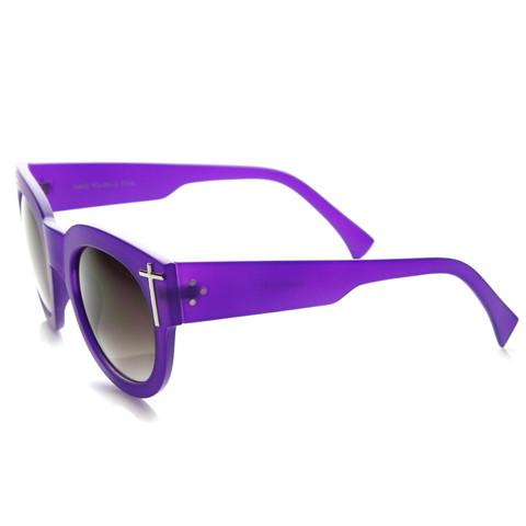 Womens Blogger Fashion Bold Oversize Cross Temple Round Sunglasses 911                           | zeroUV