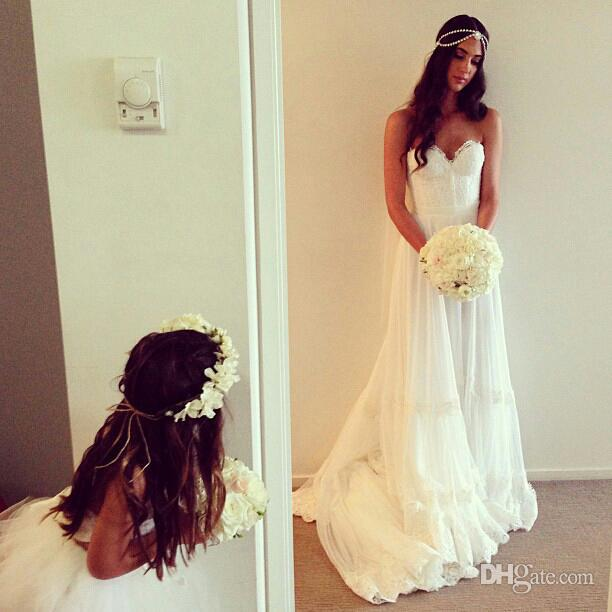 Wholesale   2014 New Here Lace real pictures Inbal Dror Sweetheart Soft tull Lace A line Sweep Train Wedding dresses-in Wedding Dresses from Apparel & Accessories on Aliexpress.com