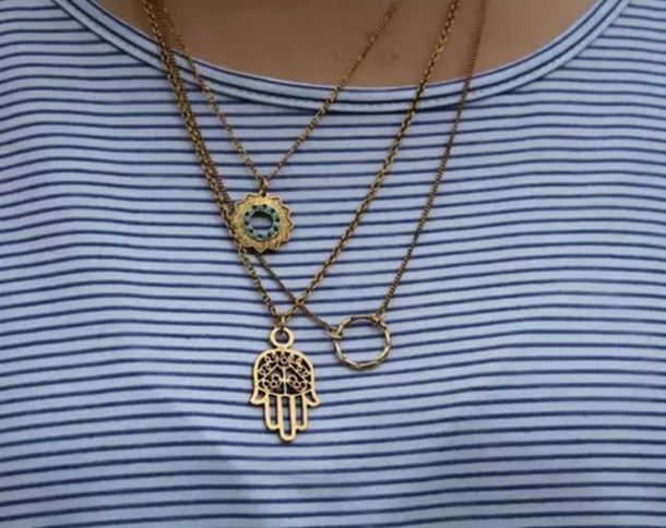 t-shirt native american necklace hamsa bronze jewels shirt stripes