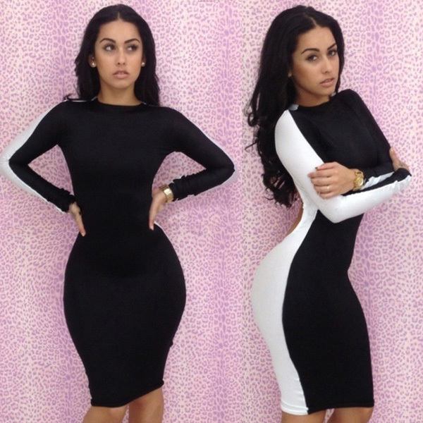 New Fashion 2013 Sexy Black Dresses Bodycon Long Sleeve Women Dress Novelty Backless Evening Dress Free Shipping  on Aliexpress.com
