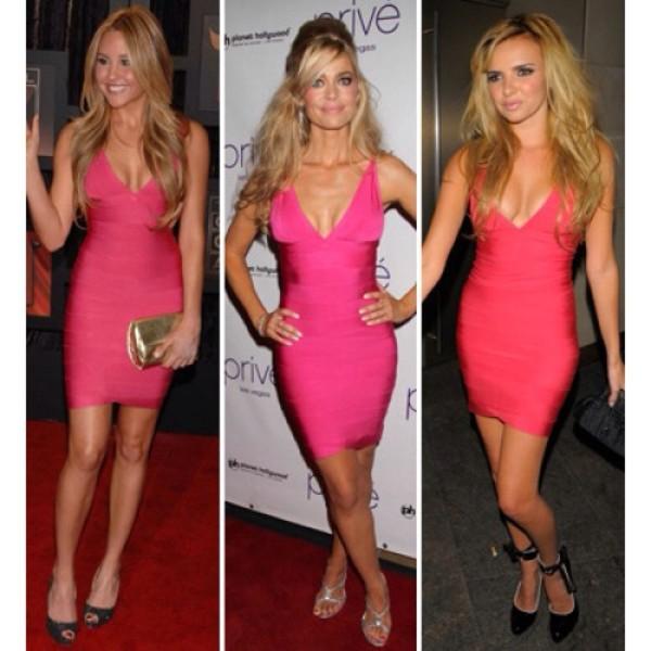 dress pink dress herve leger bandage dress