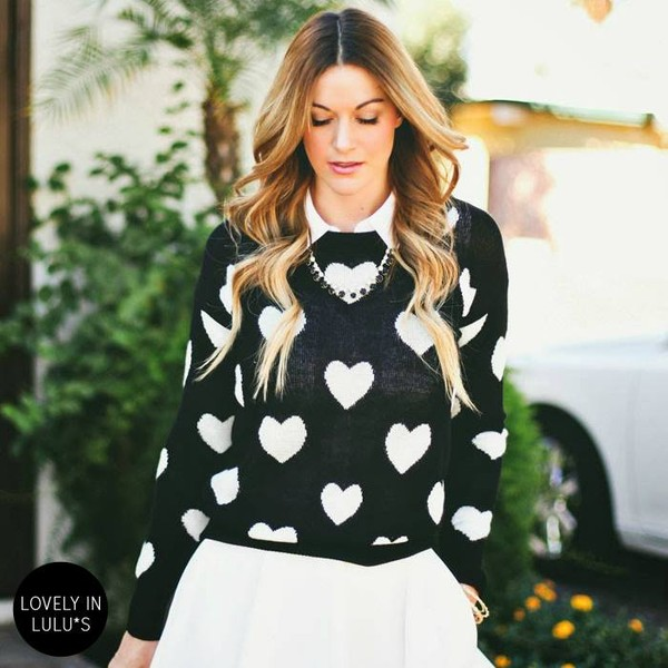sweater black heart heart sweater