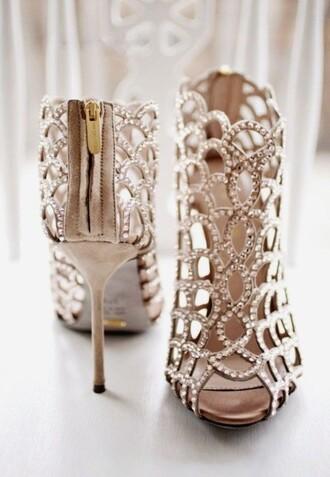 shoes gold pumps holes peep toe