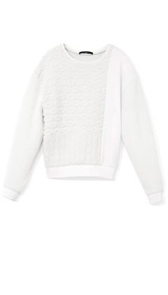 Patchwork Cable Sweatshirt   Shop   Tibi