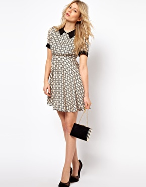 Love | Love Smock Dress In Geo Print With Collar at ASOS