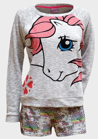 pajamas my little pony pyjamas. pyjama shorts grey pink precious pony rainbow blue eyes pink hair