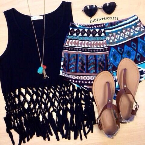 shorts material shorts printed shorts sunglasses shirt top hippie black coachella knotted skirt shoes