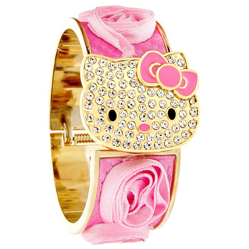 Hello Kitty By Sanrio Ladies Juniors Crystal Pink Flower Bangle Watch Hk1728s | eBay