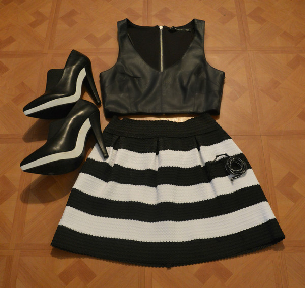 skirt monochrome mini skirt summer outfits black white crop tops heels party outfits party uber by design legs dress up dress up party high heels shirt