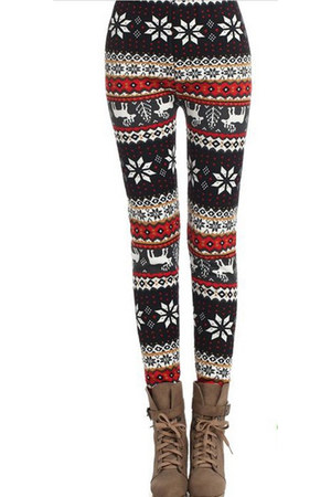 Autumn Fashion Red Reindeer Snowflake Leggings by Indressme | Chictopia