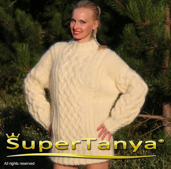 Extra thick hand knitted mohair sweater in ivory by supertanya