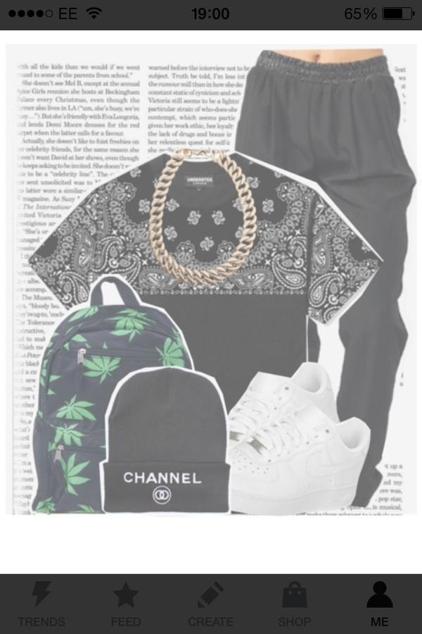 t-shirt bandana print leather pants huf bag hat jewels