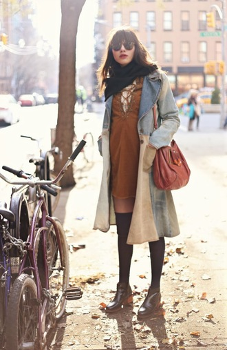 natalie off duty jacket scarf dress jewels shoes bag sunglasses lace up dress fall outfits warby parker