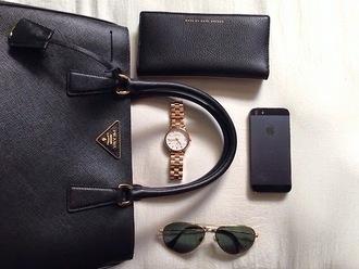 jewels watch bag black gold rayban glasses iphone