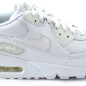 Nike Air Max 90 Leather Men's Running Shoes White/White 302519-113 on Wanelo