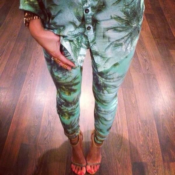 blouse summer palm nice classy fun pants