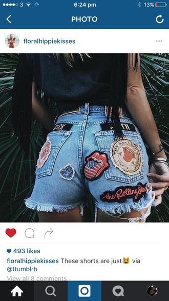 shorts tumblr denim denim shorts the rolling stones tags badge cut off shorts rock coachella boho style