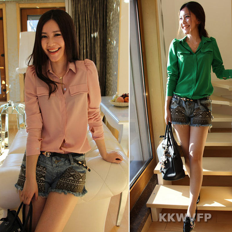 Fashion Women Polo Neck Long Sleeve Button Solid Chiffon Top Blouse Shirt s M L | eBay