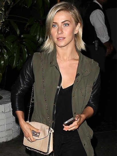 JET by John Eshaya Real Leather Sleeve Army Jacket as Seen On Julianne Hough and Julianne Moore