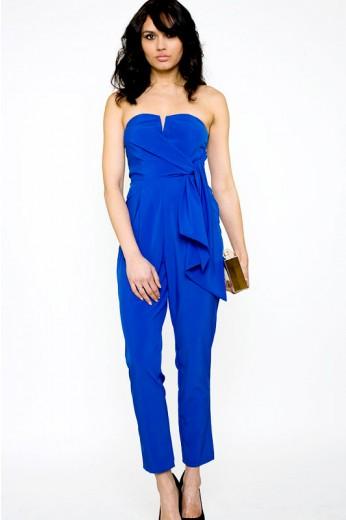 Cobalt Blue Wrap Jumpsuit- $68