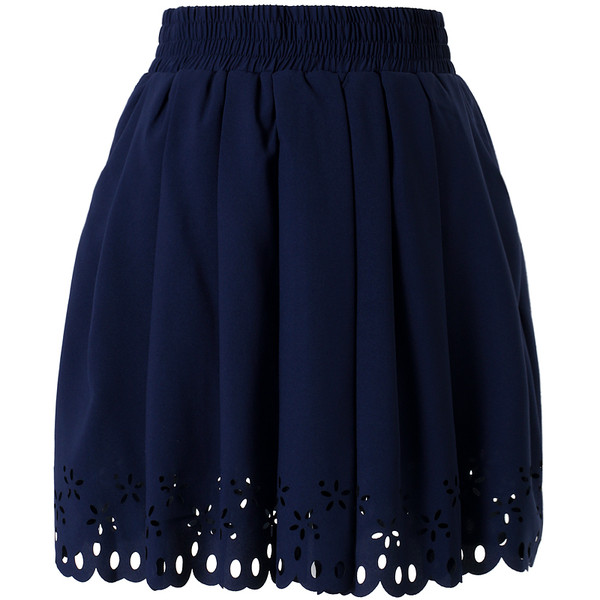 Navy Blue Pleated Skater Skirt with Cut Out Detail - Polyvore