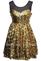 Livraison gratuite or, sexy robe de soirée sans manches c075 2012 cou o