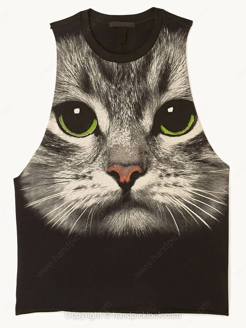 Black Tank Sleeveless Cat Print Vest - HandpickLook.com