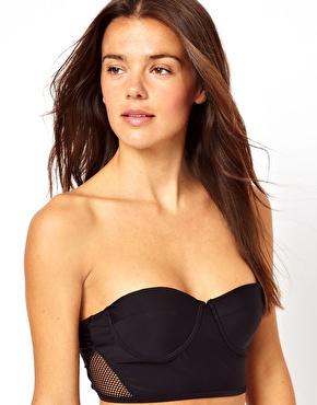 River Island | River Island Corset Fishnet Bikini Top at ASOS