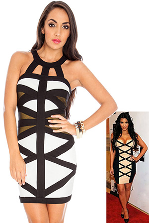 Multi Mesh Panel Halter Bodycon Dress in the style of Kim Kardashian