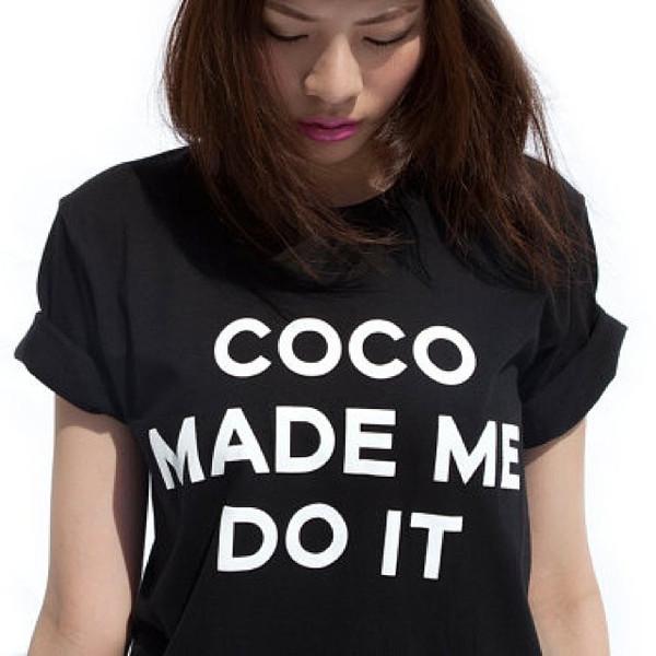 t-shirt chanel made me do t-shirt shirt black makeup table vanity row dress to kill rock vogue chanel