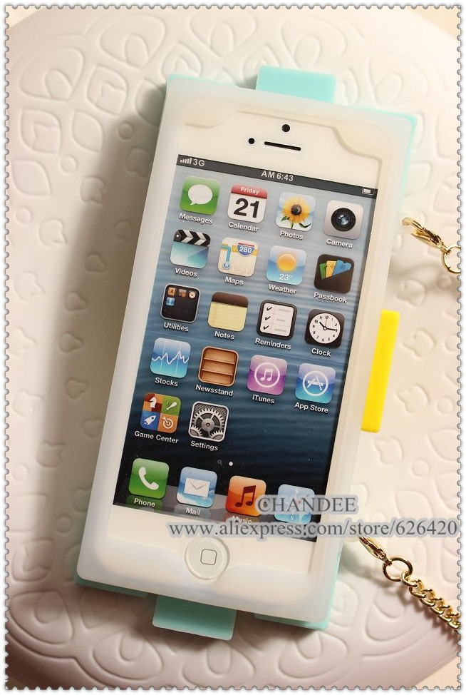 retail for iphone 5 5s 4 4s luxury brand logo designer TPU women block metal chain long lanyard handbag with retail package-in Phone Bags & Cases from Electronics on Aliexpress.com