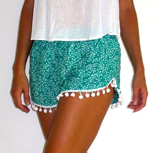 Green Shorts - Emerald Green Trendy Pom Pom | UsTrendy