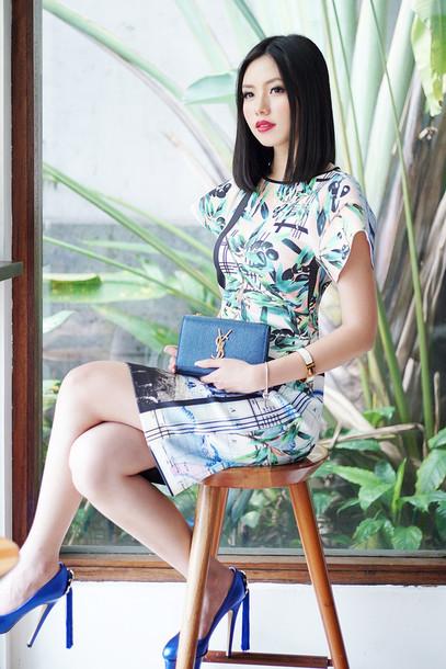 olivia lazuardy blogger classy patterned dress pumps saint laurent dress shoes bag