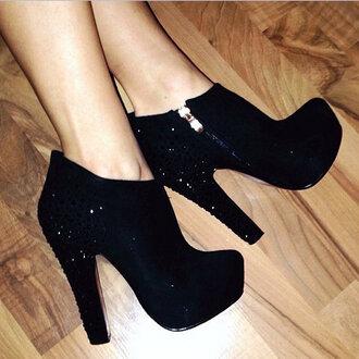 shoes booties high heels glitter black boots roundtoe zip need this heels :(
