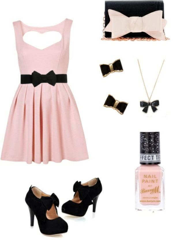 dress peach color pink dress bow shoes