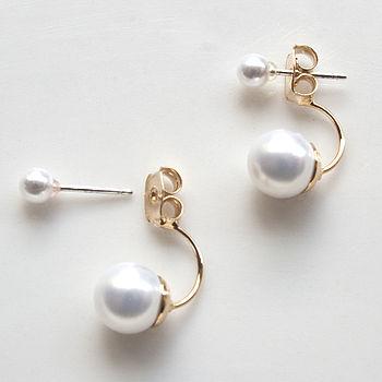 double pearl earrings by norigeh   notonthehighstreet.com