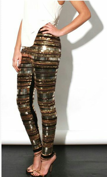 pants gold sequins leggings embellished new year's eve