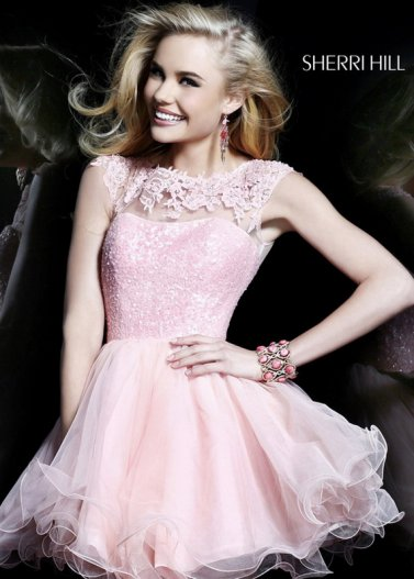 Pink Lace Sequined Top Flowy Ruffled Dress for Homecoming 2014 [Sherri Hill 21217 Pink] - $185.00 : Prom Dresses 2014 Sale, 70% off Dresses for Prom