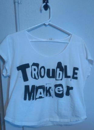 "Forever 21 ""Trouble Maker"" White Crop Top - vinted.com"