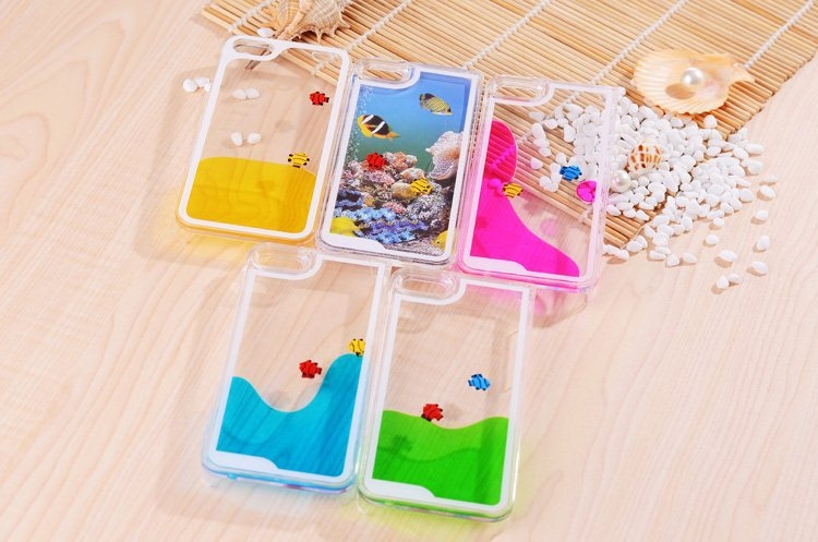 iPhone 5 5S So Many Fish In The Liquid Ocean Flowing Phone Case In Yellow Pink Blue Green