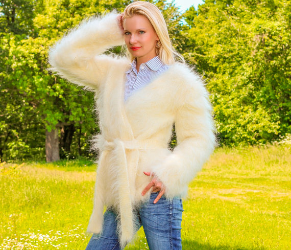 Thick fuzzy hand knitted mohair shrug wrap in ivory by supertanya