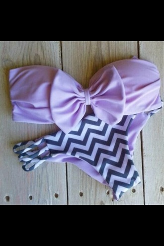 swimwear chevron swimsuit lavender purple bikini
