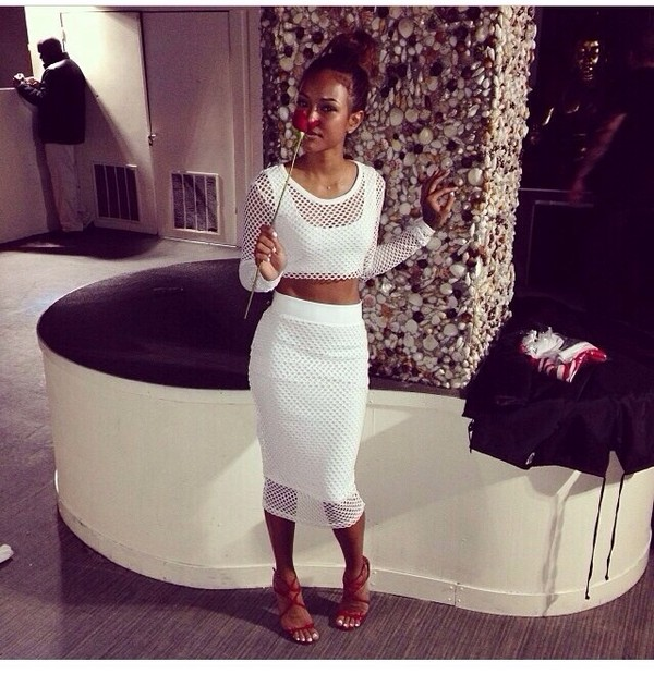 tank top white transparant r&b style long sleeves skirt