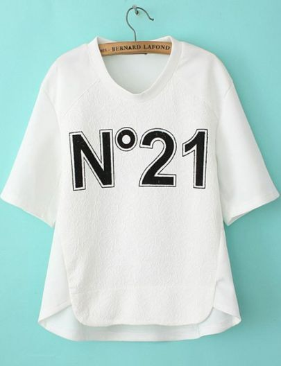 White Short Sleeve No21 Print Loose T-Shirt