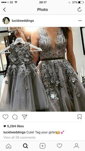 dress grey dress sparkly dress flowers Chic Women's V-Neck Long Sleeve Lace Pleated Dress matching set