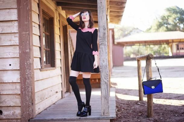 a fashion nerd blogger dress school girl satchel bag